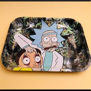 "Small metal rolling tray 7.5"" x 5.5"" inch"